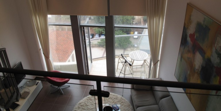 Neve Tzedek Tower Living Room and Balcony View-min