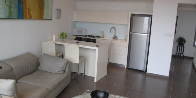 Neve Tzedek Tower Kitchen and Living Room-min