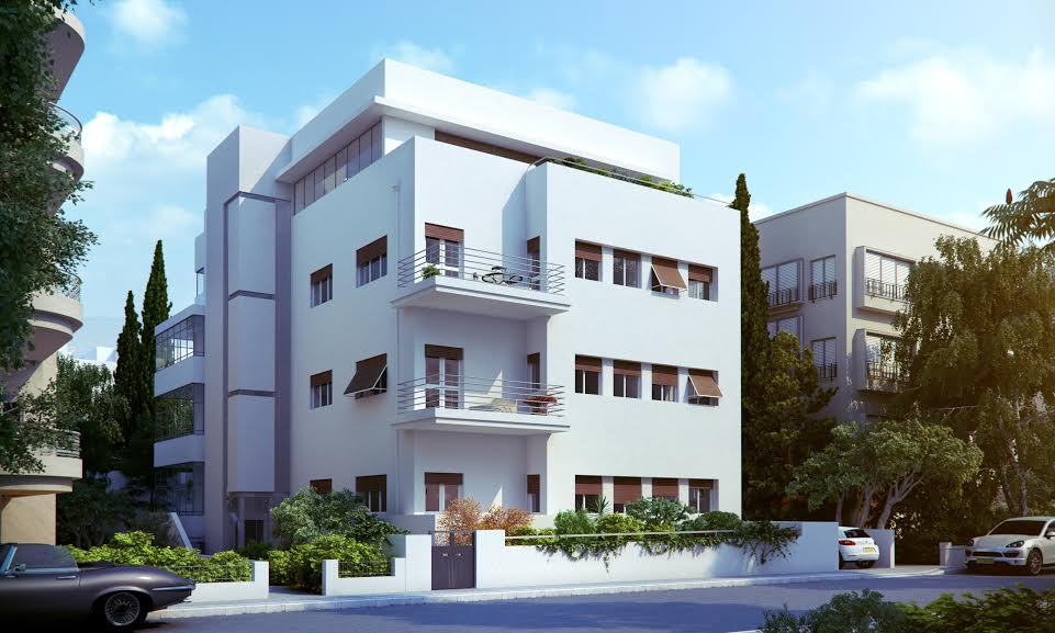 High-standard apt for sale in renovated Bauhaus building, with parking. Center of TLV, close to Frishman/Ben Yehuda!